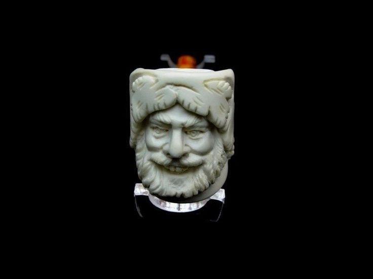 Happy Bacchus Turkish Block Meerschaum Pipe Gift Case Tobacco by Medet USA 8156