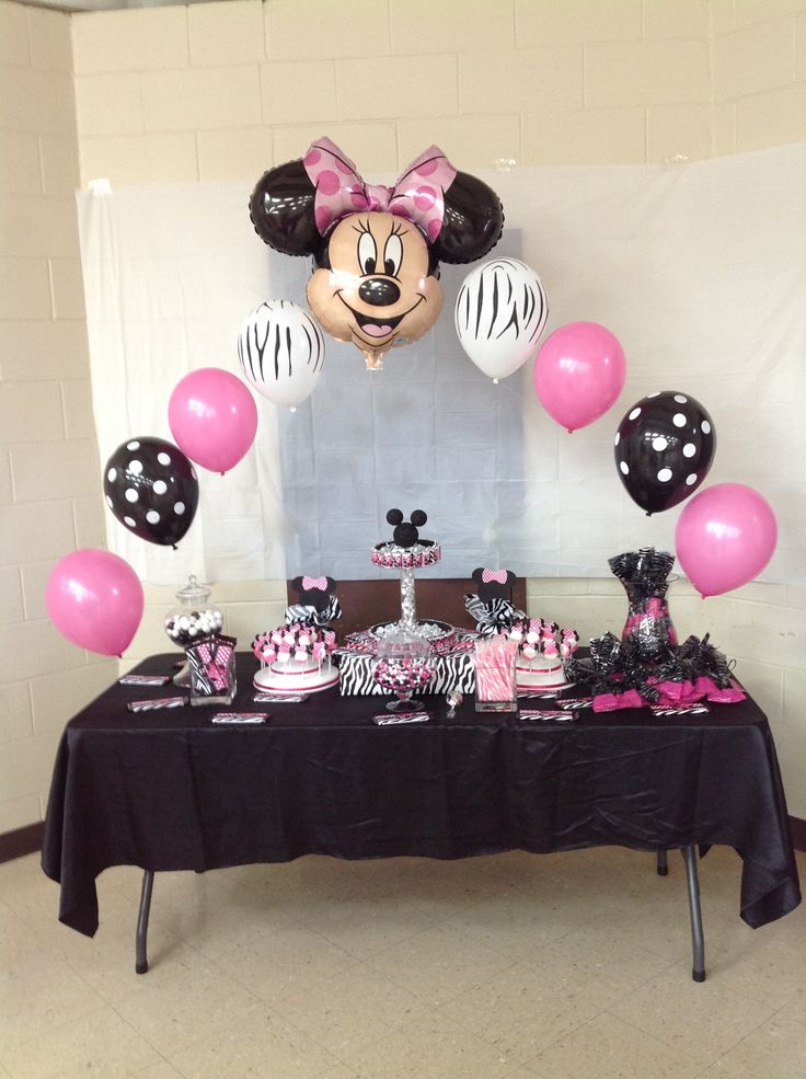 Candy buffett table minnie mouse baby shower pinterest for Baby minnie decoration ideas