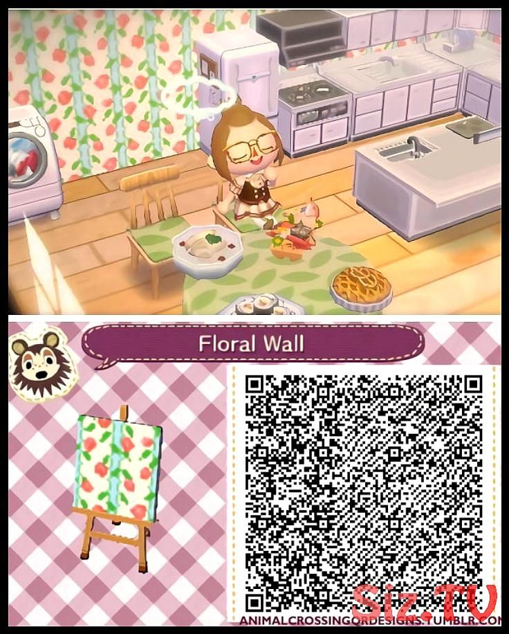 White And Green Flower Wall In 2020 Animal Crossing Qr Codes