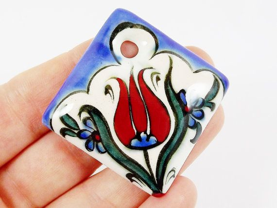 OOAK Large Hand painted Turkish Cini Ceramic by LylaSupplies