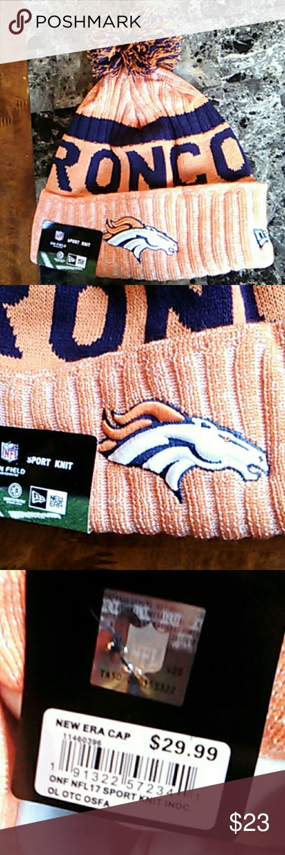 New Era NFL Broncos Beanie New. Never Used. Perfect for Cold Nights.  Ships ASAP New Era Accessories Hats