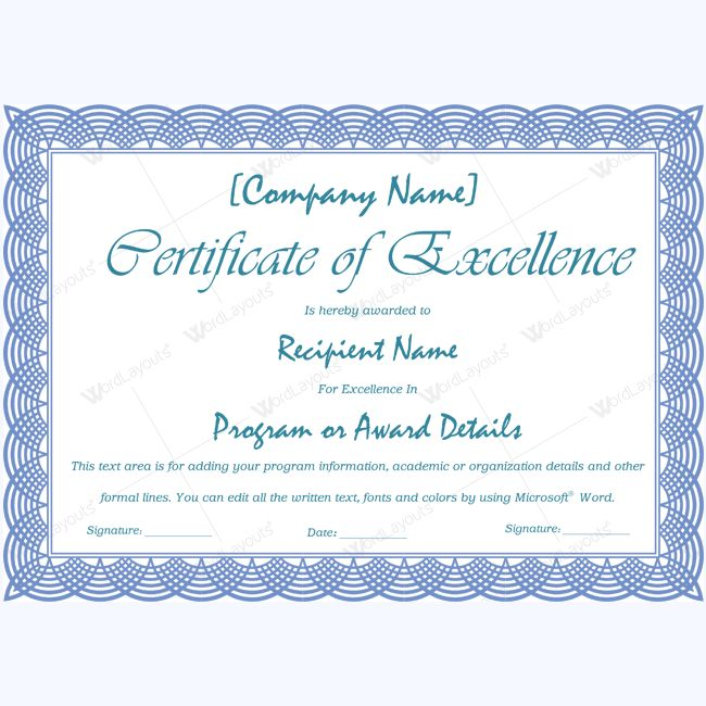 16 best Certificate of Excellence templates images on Pinterest - certificate templates in word