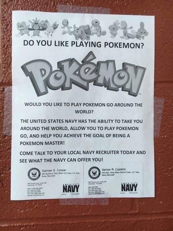 Navy recruiting upping its game | Funny | Pokemon funny ...