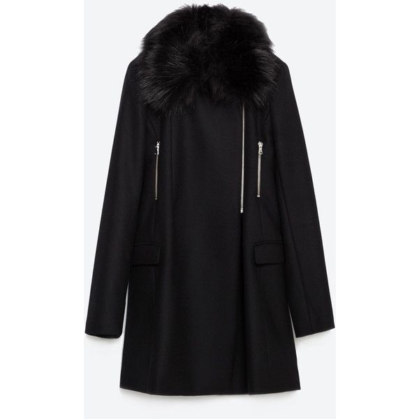 Zara Coat With Faux Fur Collar (£135) ❤ liked on Polyvore featuring outerwear, coats, black, zara coat, faux fur collar coat and black coat