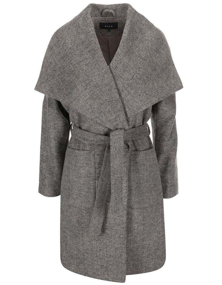 VILA - Béžovo-šedý žíhaný kabát  Acel - 1