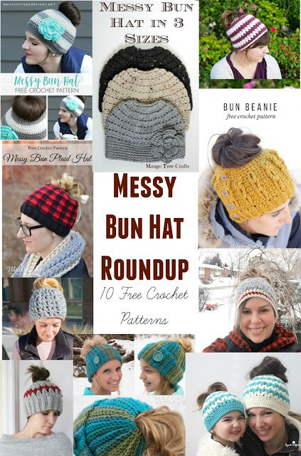 Has the messy bun hat craze reached you yet? :-) I have created this collection of my 10 favorite messy bun crochet hat patterns for everyone to enjoy. All patterns in this collection are free.   Mess