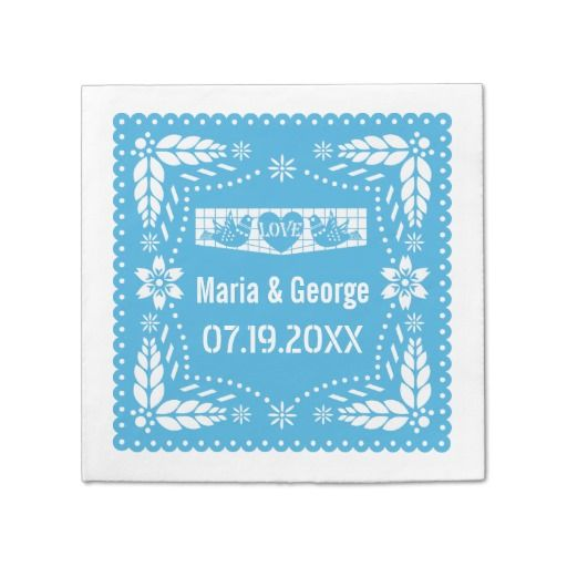 Papel picado love birds blue wedding fiesta napkin