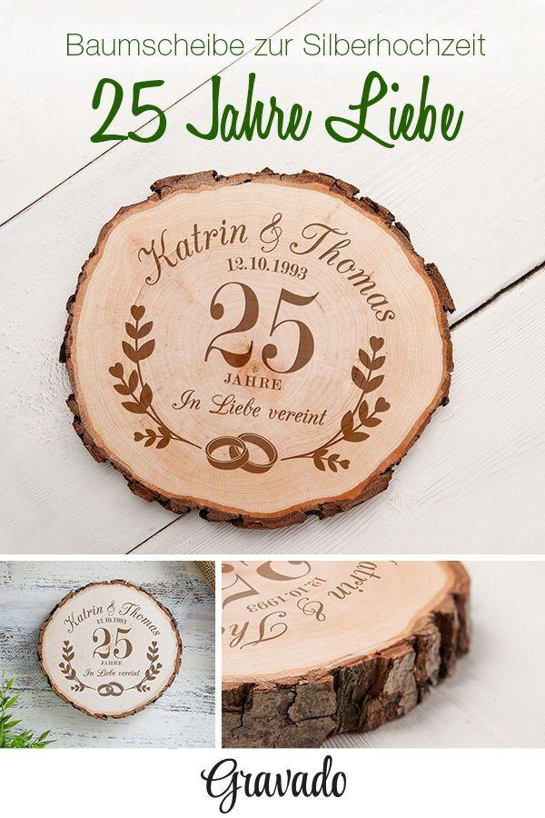 Baumscheibe mit Gravur für die Silberhochzeit – personalisiert