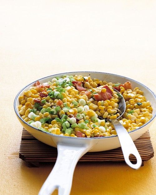 Sauteed Corn, Bacon, and Scallions  Goes great with a baked potato (with butter and sour cream)