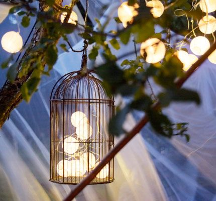Una cadena de luces solares dentro de una jaula de pájaro colgada de un manzano
