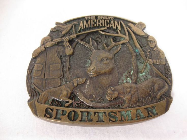 Vtg BELT BUCKLE AWARD DESIGN MEDALS American Hunter USA First Edition Brass
