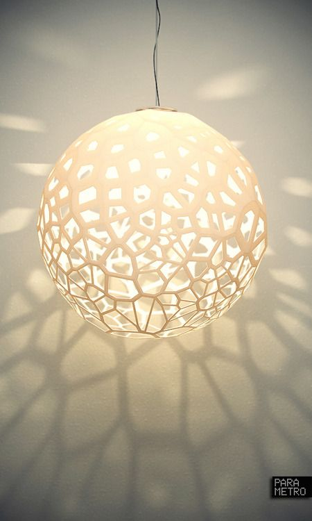 Ball lamp with its cellular texture in the shadows