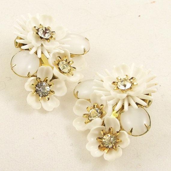 Vintage 1960s Earrings Mad Men Rhinestone Coro Flowers by Revvie1, $12.00