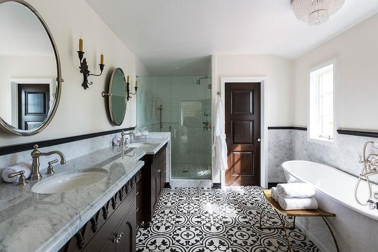 Clean lines bring a soothing luxury-hotel vibe to a Mediterranean bathroom design.