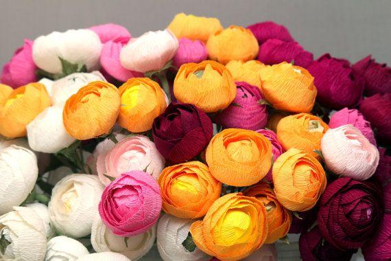 bridal flower, wedding flower, paper flower bouquet, wedding bouquet, bridal bouquet, ranunculus bouquet, paper ranunculus, wedding decor