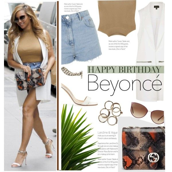 Happy Birthday, Beyonce! by stylect on Polyvore featuring Topshop, Manolo Blahnik, Gucci, Oliver Peoples, polyvorecommunity, polyvoreeditorial, polyvorecontest and happybirthdaybeyonce