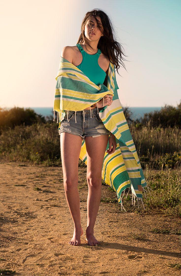 FUTAH BEACH TOWELS | GALAPOS YELLOW/EMERALD | beach towel | summer essentials