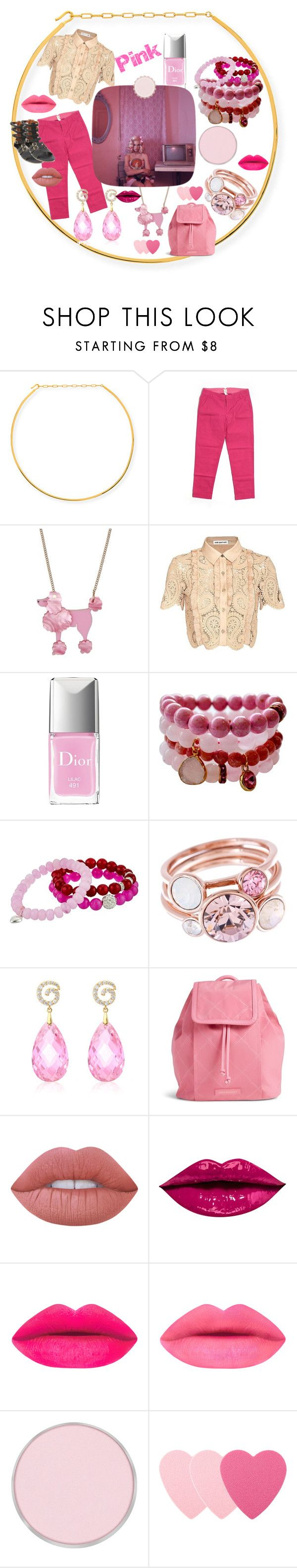 """Pink"" by michelle858 ❤ liked on Polyvore featuring Jennifer Zeuner, Ecru, self-portrait, Christian Dior, Dee Berkley, Ted Baker, Vera Bradley, Lime Crime and Sephora Collection"