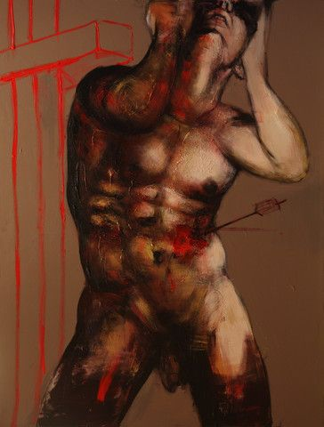 Private Commission Works | Corno E-Store                Saint Sebastian 4. Naked man stabbed in the torso by an arrow. Blood is pouring out of his body.