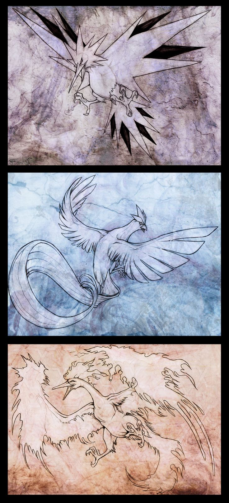 Legendary Birds by Exileden.deviantart.com on @deviantART -----Zaptos, Articuno, and Moltres--------