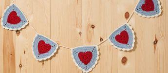 Crochet Granny Heart Bunting - Tutorial ❥ 4U // hf