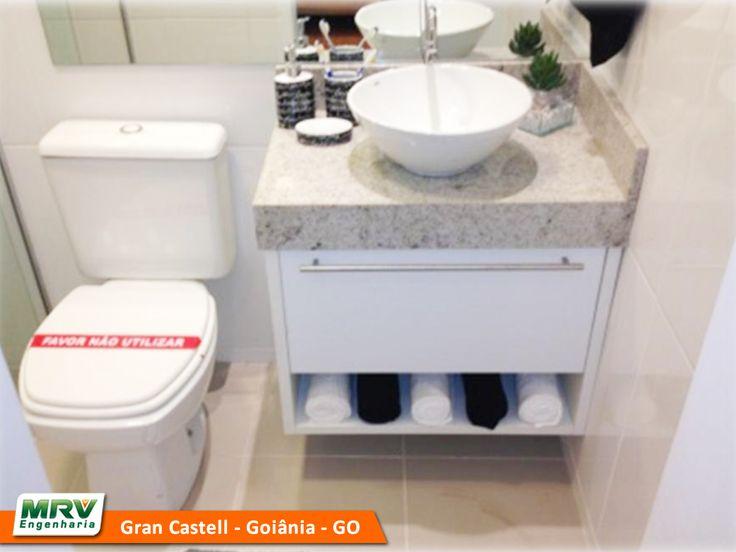 Apartamento decorado 2 quartos do Gran Castell no bairro Jardim da Luz  Goiâ -> Banheiro Planejado Mrv
