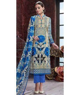 Superb Beige And Blue Cotton Straight Suit.