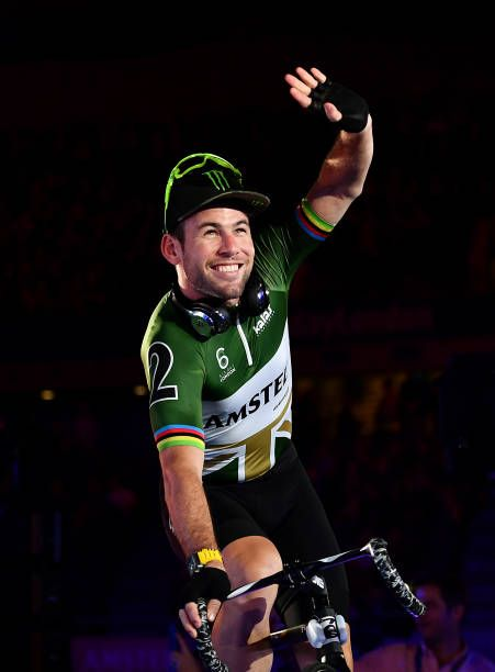 Mark Cavendish of Great Britain waves as he is introduced to the crowd on day four of the London Six Day Race at the Lee Valley Velopark Velodrome on...