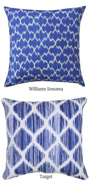 Target Brushed Diamond Blue by Threshold, $13.50 & Aerin for W-S Outdoor Printed Medallion Ikat, $79.  So I did end up getting a few at Target  this morning… and they look fabulous!