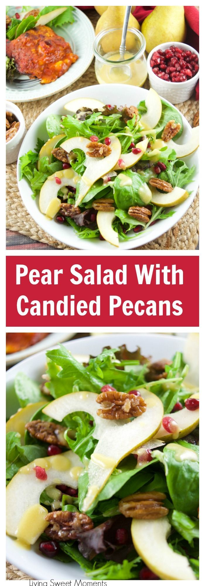 This tasty pomegranate Pear Salad is served with candied pecans and drizzled with a mustard dressing. The perfect autumn quick salad to serve with dinner. More salad recipes at livingsweetmoments.com  via @Livingsmoments #BalanceYourPlate #ad