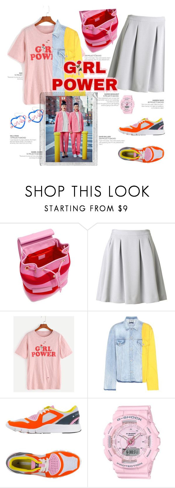"""""""girl power"""" by lianafourmouzi ❤ liked on Polyvore featuring Boutique Moschino, By Malene Birger, Off-White, adidas, Baby-G, Polaroid, GET LOST, girlpower and powerlook"""