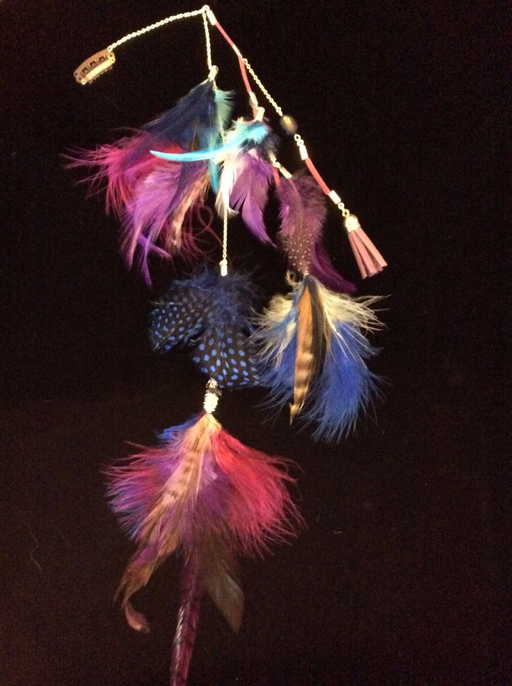 Clip in hair feathers jewellery with lapis lazuli and clear quartz