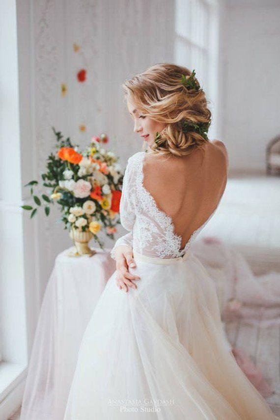Lavendel erröten, Misty Rose, zwei Stück Brautkleid, Alternative Hochzeitskleid, lange Ärmel Tüll Kleid, sexy Brautkleid, Brautkleider
