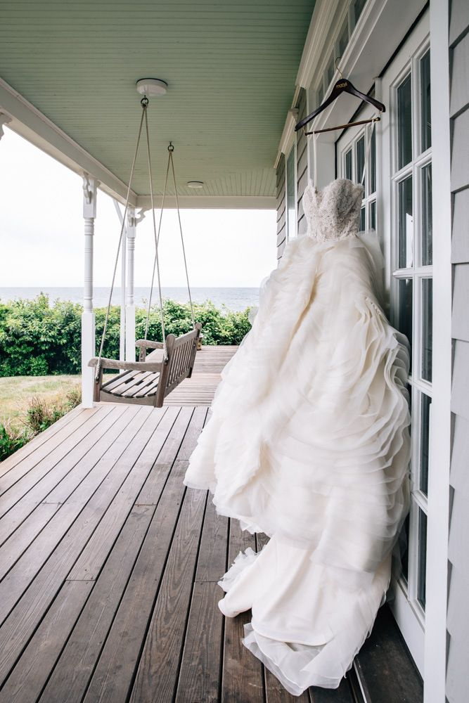 Ashley & Raj's Block Island Wedding • The Melideos - Sweetheart Strapless Ruffled Gown by Lazaro