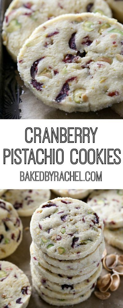 Light and flavorful cranberry pistachio cookie recipe from @bakedbyrachel #cookies #recipe #christmas