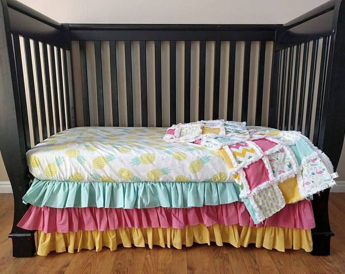 Featured listing image: Tropical Crib Set for Baby Girl  - Pineapple Nursery Bedding - Flamingo Baby Bedding Bumperless Bedding - Crib Sheet - Crib Skirt