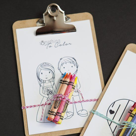 Download our 6 free coloring sheets and make these darling mini-clipboard favors for all the kids attending your wedding!