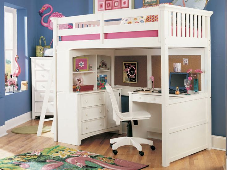 Delightful White Loft Beds For Teens | Youth White Full Size Loft Bed