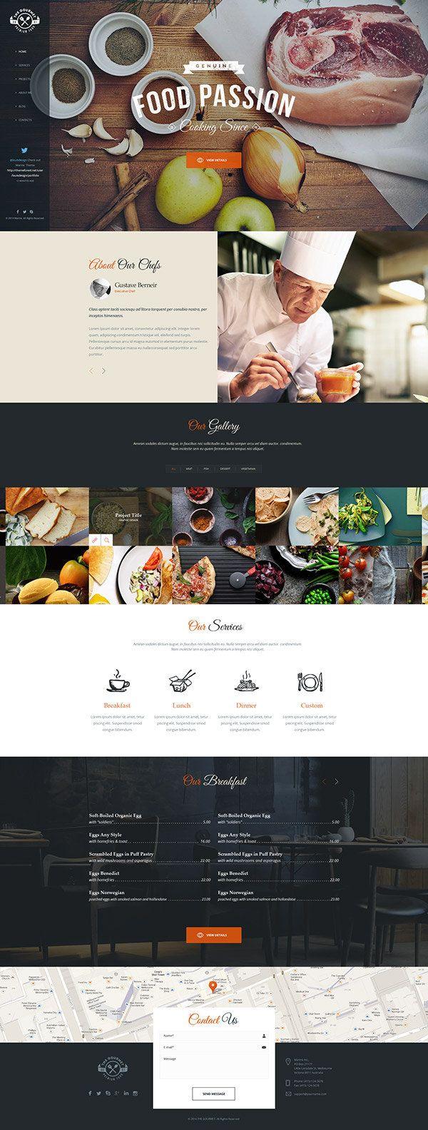 The Gourmet – Food WP Skin & Theme — Designspiration