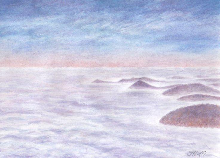 """""""Malé české moře"""" - pohled na krajinu z Milešovky směrem k jihu při inverzi, akvarel a pastel Jana Haasová"""