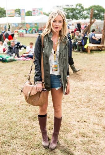 denim shorts, hunters. Glastonbury 2014, festival fashion
