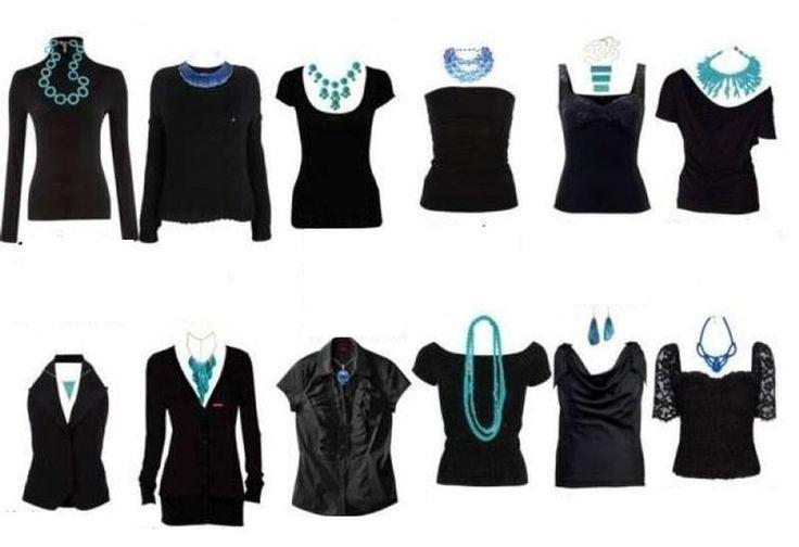 7. Варианты подбора украшений под вырез горловины одежды