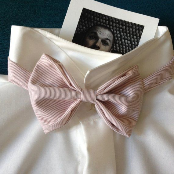 Bowtie Wedding Bow Tie Coral Pink Stripes Fliege Hochzeit Altrosa Rosa