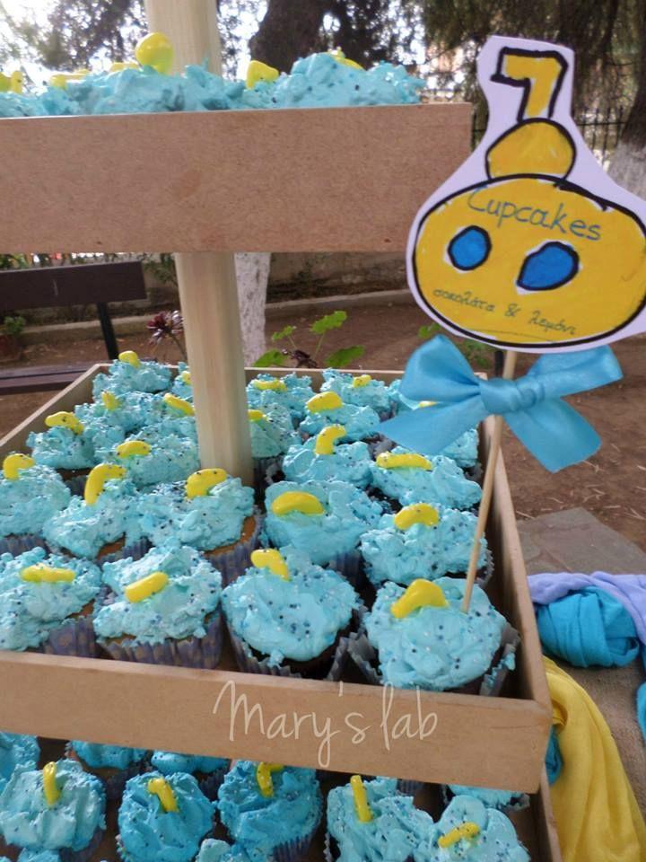 Cupcakes βανίλια - λεμόνι ή σοκολάτα! Μέσα απ' τη θάλασσα ξεπροβάλει το υποβρυχιάκι!
