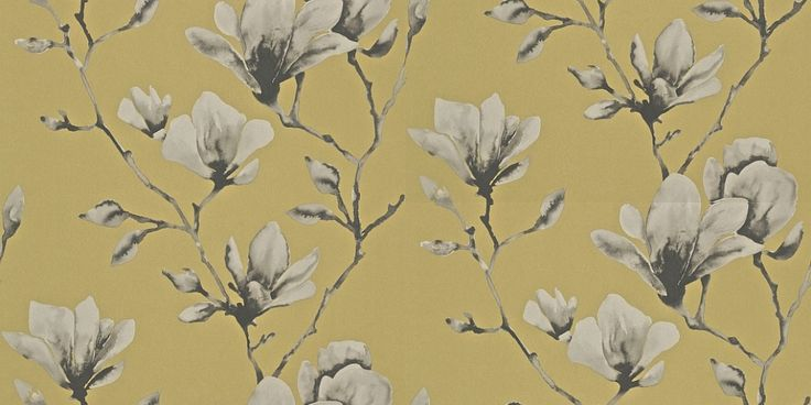 Lotus Mustard (110879) - Harlequin Wallpapers - A photo image of lotus blossom with a beautiful, metallic lustre effect.  Shown in the mustard yellow  colourway.  Please request sample for true colour match. Wide width product. Paste the wall.