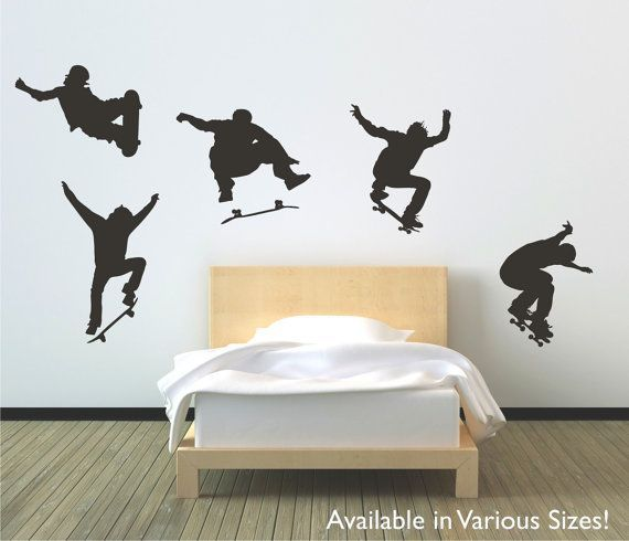 Skateboarders jumping vinyl wall decal sticker by circlewallart. For a cool boys room!