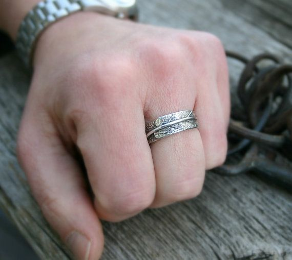 sage leaf ring for men unisex ring wedding band by joannerowan 9800