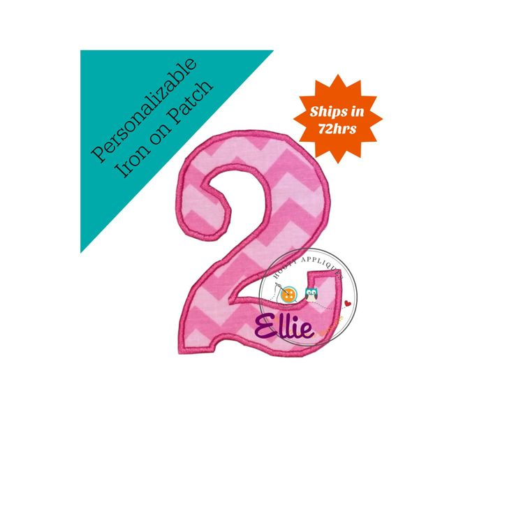 Pink and baby pink chevron number two iron on patch