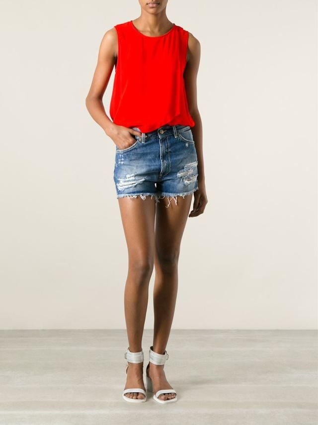 "18 Cool Ways To Style Your Jean Shorts or ""Jorts"": Bright Top and Distressed Denim Shorts"