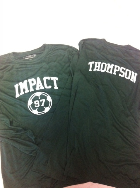 Soccer dri-fit long sleeve t's to celebrate end of a great season for a girls soccer team! www.lightningblade.com